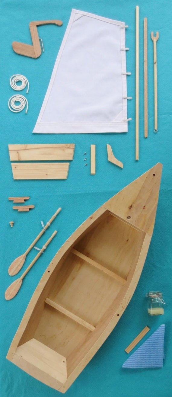 DOLL BOAT KIT - Wood Skiff Sailboat Model Kit, Handcrafted for 18 Inch dolls such as American Girl®