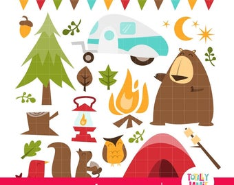 Retro Camping theme PNG Set/ Instant Download