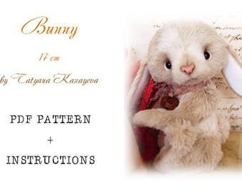 PDF Teddy Bear PATTERN Bunny 17 cm (6 1/2'') with instructions by Tatyana Kazayeva