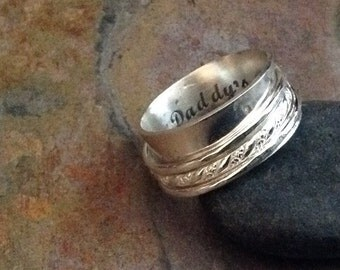 Sterling Silver Spinner Multi-Band Ring, Hammered texture, Twisted Wire design