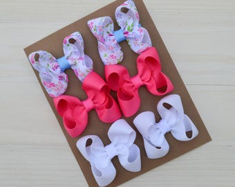 Pigtail bow set / summer hair bows / hair clips in summer colors / flower pigtail bows / baby pigtail bows / summer themed / clippies