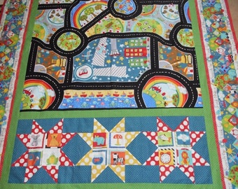 """Twin Size Quilt Top! """"Search & See"""" Road for Boys Toddler Baby Babies 72""""X102"""" by Jennifer Heynen from In the Beginning Fabrics"""