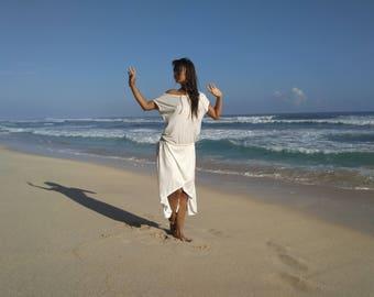 Organic Dress, Eco-friendly Bamboo Clothing, Boho Style, Vegan Fabric, Open Shoulder Dress, Open Back Dress