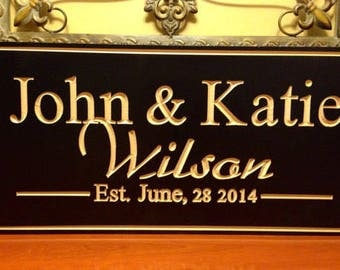 Personalized Family Name Sign Plaque Established Family Sign Sign wedding or anniversary gift Carved Engraved Wall