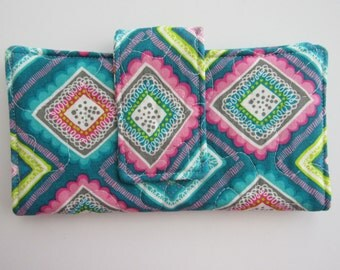 Quilted Women's Wallet, Zipper pocket, Magnetic Snap, Six card slots, Bifold, Handmade, Teal, Squares