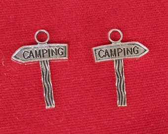 """BULK! 30pc """"camping"""" charms in antique silver style (BC1204B)"""