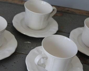 Set of Four Ironstone Cups and Saucers / 8 piece Ironstone Cup and Saucer Set / Vintage Federalist Ironstone Cup and Saucer Set / Farmhouse