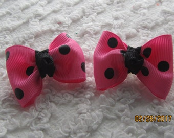 Dog Hair Bows Can Mix and match with any of my bows, Pink with Black Polka Dots dog bows, bows
