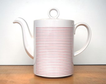 Vintage Hornsea Linear teapot or coffee pot with red and white stripes