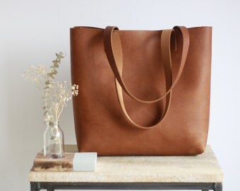 Camel Leather tote bag with sewn handles. Cap Sa Sal Bag. Handmade.