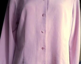 Pendleton Women's 1980's Vintage Pink Polyester Button Down Long Sleeve Blouse