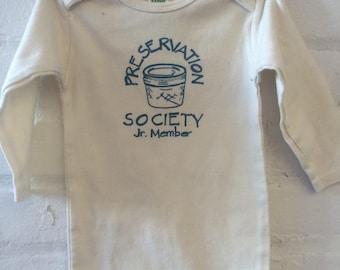SALE - Organic Cream Jr. Preservation Society Onesie Long Sleeve
