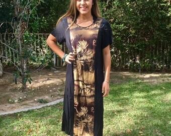 Long Hawaiian dress, medium, black, rayon, dress, tan