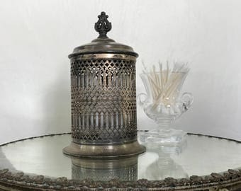 Silver Plate Canister / vintage / ornate details / reticulated metal / repurposed/ bathroom decor / cottage chic