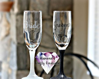 Mr and Mrs Champagne Flutes, Mr. & Mrs., Champagne Flutes, Glitter, Glasses, His and Hers, Married, Bride and Groom