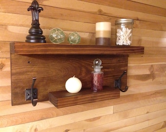 Modern Rustic Bathroom Shelf, Storag Shelf, Towel Holder, Robe Holder, Shelf