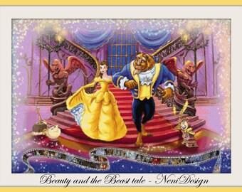 cross stitch pattern, cross stitch, Beauty and the Beast tale - cross stitch pattern - PDF pattern - instant download!