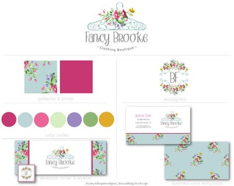 Branding Set,Logo,Monogram,Facebook Timeline Cover,Double Sided Business Card Templates- Floral,Clothing Hanger-Cyan,Maroon-Watermark Files