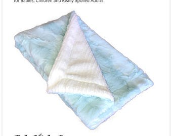 Worlds Softest Minky Cuddle Fur Blanket - Reversible Soft Mint Green Crushed Minky With Off White Knit Minky Cuddle Fur All Sizes and Colors