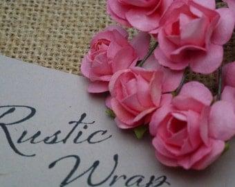 12 Peach coloured Mulberry Paper Tea Rose Flower 20mm,
