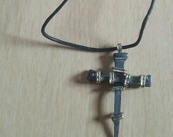 Coffin Nail Cross Necklace