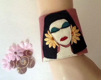 Cleopatra Cuff bracelet/Egyptian Queen Wide Leather Cuff/Genuine Leather Bracelet/Unique Jewelry/Wristband entirely handcrafted