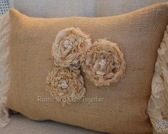 Burlap Pillow Lace ruffles -Handmade Rosette 9x12