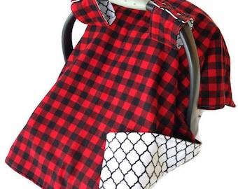 Plaid Baby Boy Gift Car Seat Cover Boy Carseat Canopy Boy Carseat Cover Boy Car Seat Canopy Boy Buffalo Plaid Baby Boy Shower Gift