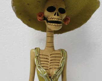 """BEAUTIFUL CATRINA hand made clay figurine day of the dead mexican folk art 13"""""""