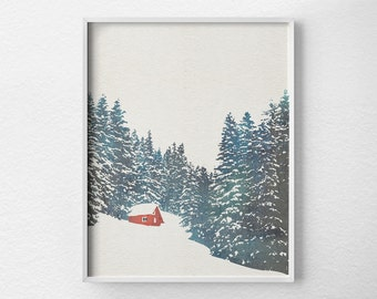 Winter Print, Winter Decor, Cabin Decor, Cabin Art, Cabin Christmas, Christmas Decor, Forest Print, Holiday Print, Snow Print, 0483
