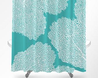 Coral Shower Curtain  Coastal Shower Curtain  Ocean Shower Curtain  Beach  Bathroom Decor Beach shower curtain nautical shower curtain turquoise aqua. Coral And Teal Shower Curtain. Home Design Ideas