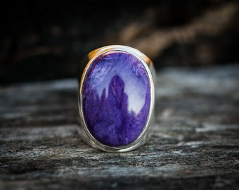Charoite Ring 6 - Charoite and Sterling Silver Ring size 6 - Siberian Charoite - Genuine Charoite Ring - Sterling Silver and Charoite Ring