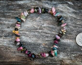 Multicolor Tourmaline Bracelet - Green, Pink, Blue, Yellow Tourmaline Bracelet - Tourmaline bracelet - Tourmaline Bracelet, Pink, Blue, Red