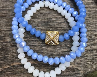 Blue bracelet set, blue bracelet stack, stretch bracelet, beaded bracelets, blue bracelets, arm candy, boho bracelets, everyday bracelets