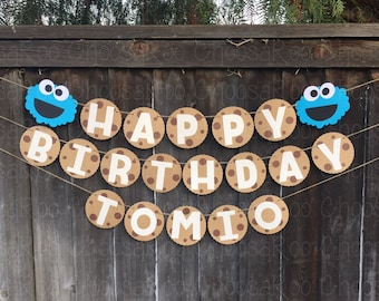 Cookie Monster * Handmade * Happy Birthday Banner! *Made to Order*