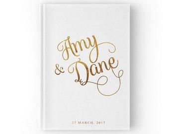 Gold Foil Wedding Guest Book, Gold Wedding Guest Book, Gold and White, Gold Guest Book, Bridal Guest Book, GB 009