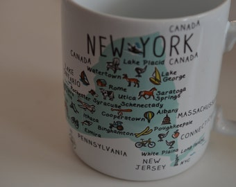 Vintage large huge giant coffee tea mug cup New York State NY decorated map