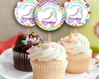 Skating Party Cupcake Toppers, Printable Skating Party, Printable Cupcake Toppers, Printable Party Tags, Cupcake Toppers, #SP1