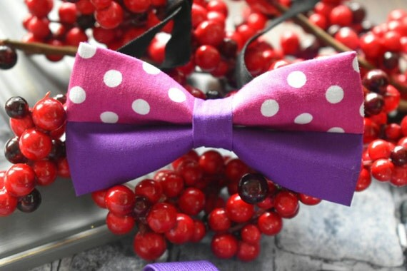 Purple and white polka dot Bow tie with red Braces / Suspenders for Baby, Toddlers and Boys (Kids Bow Ties)