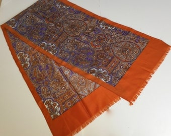 "Vintage Scarf Lavender and Orange- Rust  Fringe Ends 12"" by 52"" Ladies Accessory"