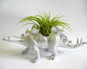Silver Stegosaurus Dinosaur Planter with Air Plant // gift for her // gift for him // coworker gift