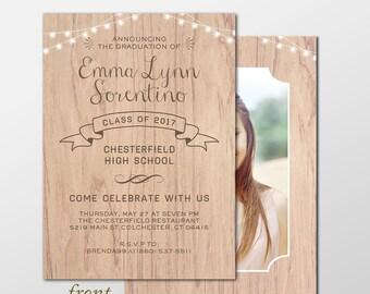 Country Chic Senior Graduation Announcement Photo Cards - Rustic Graduation Announcements - Girl or Boy Graduation Invitation Announcement