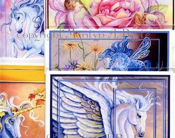 SET of 5 UNICORN CARDS; enhanced cards, blank cards, fantasy, Pegasus, unicorns, fairy children, fairy horse,