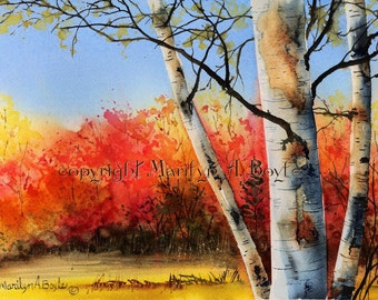 WATERCOLOR- ORIGINAL PAINTING, Autumn scene, birch trees, red and orange color, Canadain art, wall art, original art,