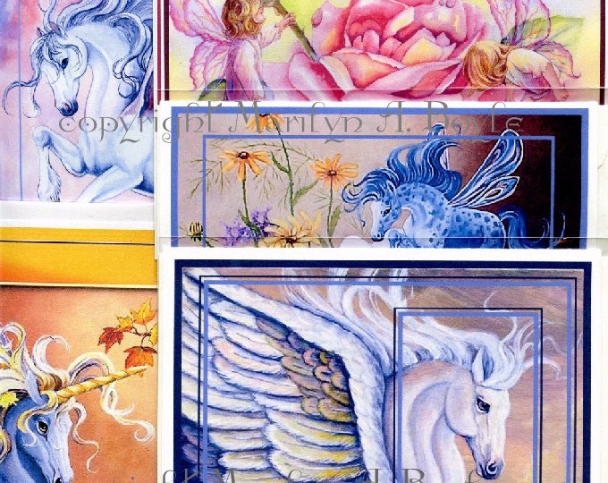SET of 5 UNICORN CARDS; enhanced cards, blank cards, fantasy, Pegasus, unicorns, fairy children, fairy horse,