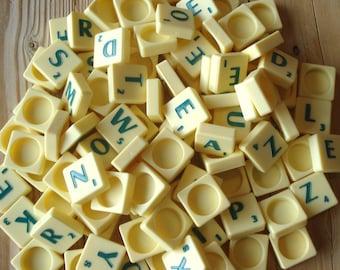 Vintage Scrabble tiles, plastic, green, set of 25, green letters, Scrabble letters, game parts, green Scrabble, craft materials