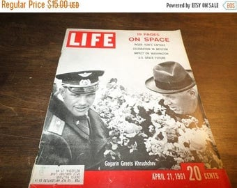 Save 25% Now Vintage Life Magazine April 21 1961 Space Moscow Kruschev Excellent Original Condition Neat Old Ad's