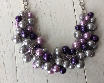 Set of 6  Gray purple and lavender pearl necklace, statement necklace, pearl necklace, wedding necklace, bridesmaid jewelry