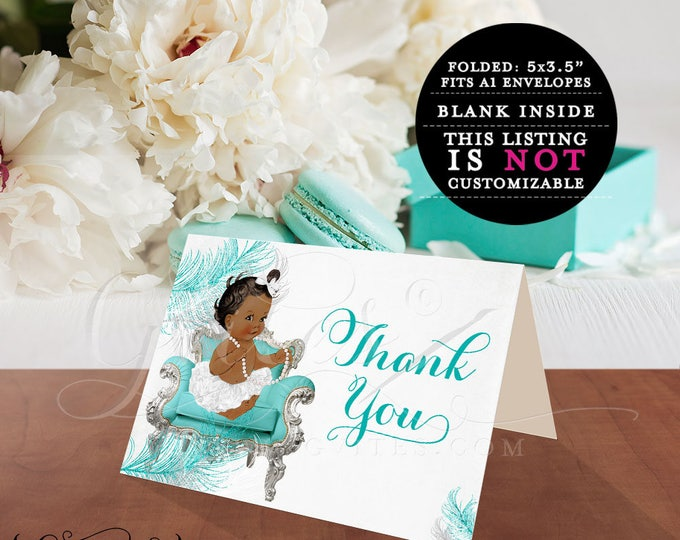 """African American thank you cards, ribbons bows, diamonds pearls, baby girl, silver white blue, baby thank you cards 5x3.5"""" 2 Per/Sheet"""