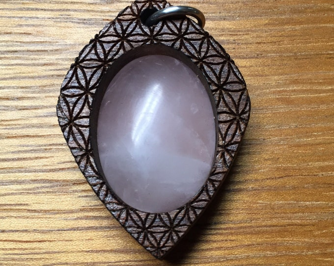 Rose Quartz in Walnut Laser Engraved Pendant